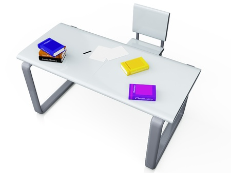 3d image on a metal table next to the chair are books on a white background photo