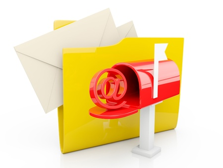 3d illustration  computer folder icon mailbox on a white background illustration