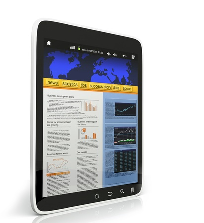 3D  Illustration of the Tablet PC on a white background, mobile technology illustration
