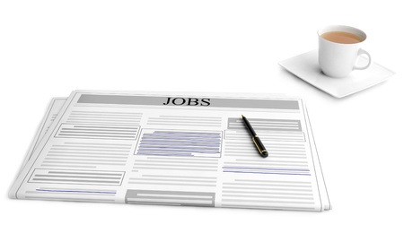 3d illustration  The idea of   looking for work, the newspaper with ads illustration