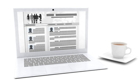 3d illustration  The idea of   design of advertising to find work, a laptop with a job search site Stock Illustration - 13925305