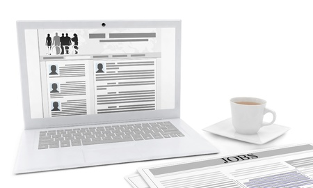 classified ads: 3d illustration  The idea of   design of advertising to find work, a laptop with a job search site