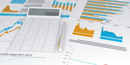 financial figures: 3d illustration of a business, finance credit reports and statistics with a calculator and pen
