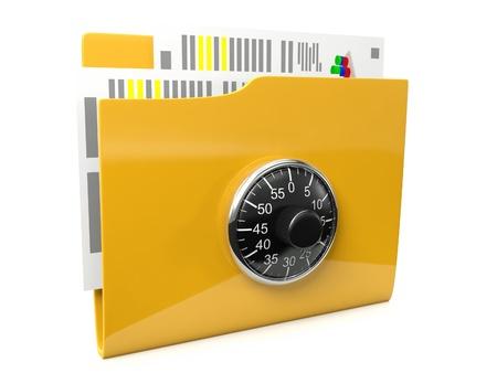 3d imagen del icono es una carpeta con los documentos protegidos por un bloqueo en un fondo blanco Foto de archivo