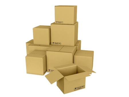 warehousing: 3d image trolley with boxes symbolizing bystrtsyu shipping and warehouse on a white background