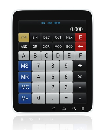 palmtop computer: 3D images: Tablet PC Calculator Stock Photo