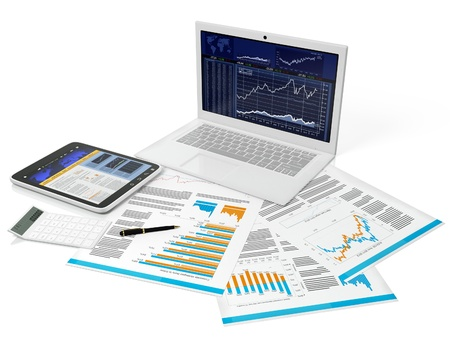 financial statements: 3d illustration of a business computer with a blank on a white background