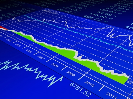 forex trading: 3d illustration: drawing from the sale of stock exchanges, business