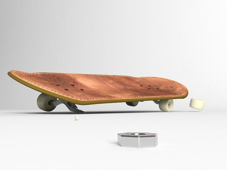 leathern: Skate board on a white background Stock Photo