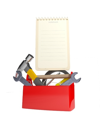 hangs: set of tools and instruments in plastic box isolated on white background