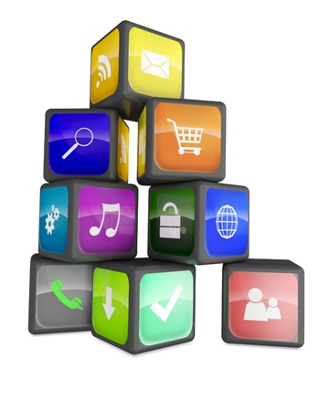 Smartphone industry concept: cubes with color application icons isolated on white background photo