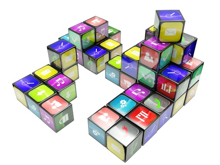 3d an illustration: compositions from black cubes and icons on a white background Stock Illustration - 13925572
