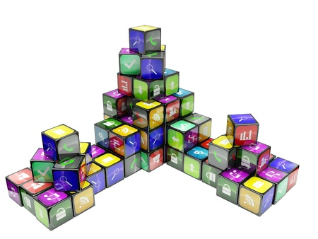 3d an illustration: compositions from black cubes and icons on a white background Stock Illustration - 13925506