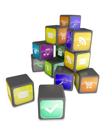 Smartphone industry concept: cubes with color application icons isolated photo