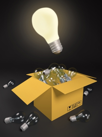 3d an illustration: One burning bulb, against not burning. To find the necessary idea illustration