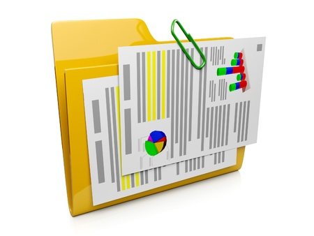 schedule system: 3d folder icon with the documents to the computer operating system Stock Photo