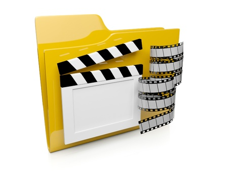 operating system: 3d folder icon with the video to the computer operating system