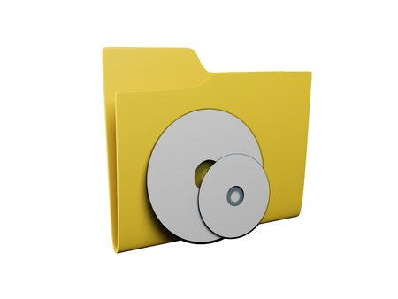 Idea of an icon a folder: 3d a yellow folder for music Stock Photo - 13924547