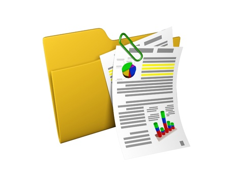 3d an illustration: a yellow folder with documents and schedules Stock Illustration - 13924676