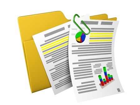 3d an illustration: a yellow folder with documents and schedules illustration