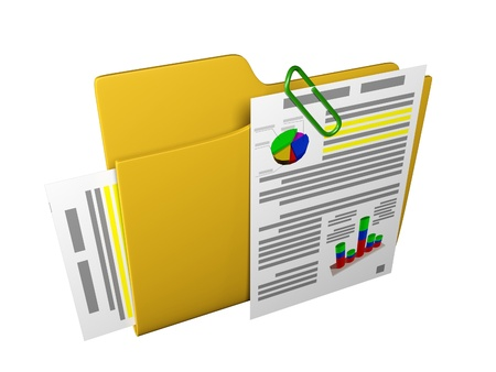3d an illustration: a yellow folder with documents and schedules Stock Illustration - 13924993