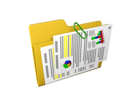 schedule system: 3d an illustration: a yellow folder with documents and schedules