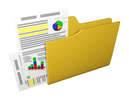 3d an illustration: a yellow folder with documents and schedules Stock Illustration - 13924828