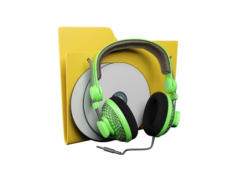 Idea of an icon a folder: 3d a yellow folder for music Stock Photo - 13924745
