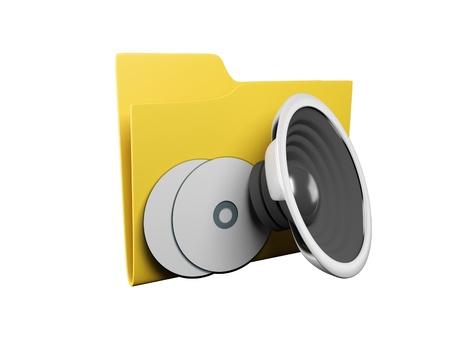 Idea of an icon a folder: 3d a yellow folder for music Stock Photo - 13924553