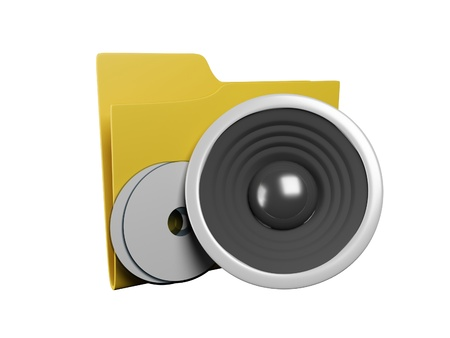 operating system: Idea of an icon a folder: 3d a yellow folder for music Stock Photo
