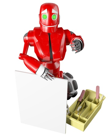 The red robot keeps a whiteboard photo