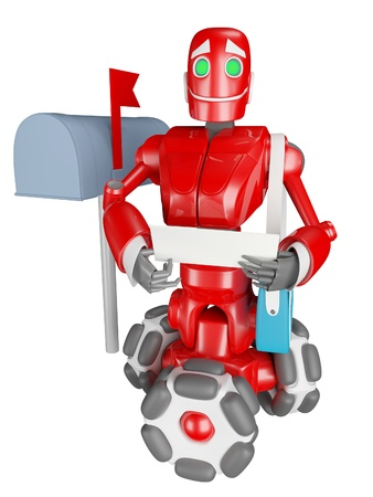 The red robot delivers the mail photo