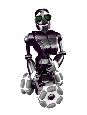 Black robot back with a baton in his hand Stock Photo - 13924743