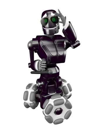 Black robot back with a baton in his hand Stock Photo - 13924756