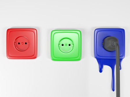 3d an illustration: multi-colored building sockets symbolizing color space RGB Stock Illustration - 13925339