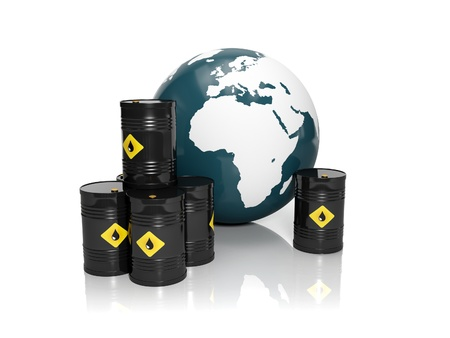 quantities: 3d illustration  Oil production in large quantities  Barrels of oil and a model of the earth on a white background