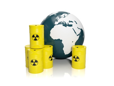 nuclear waste: 3d illustration  muddy ground nuclear waste  Barrels of nuclear waste and the model of the earth on a white background Stock Photo