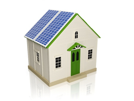 3d illustration  Obtaining energy from solar panels  House with solar panels on the roof illustration