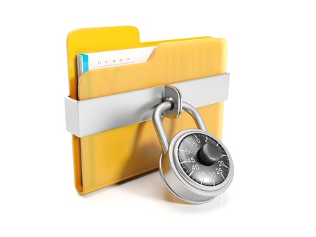 data protection: 3d illustration  Big yellow folder with a combination lock mounted Stock Photo