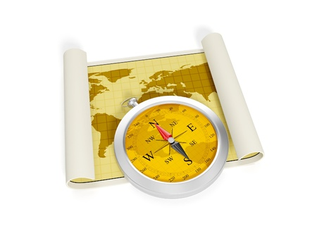 3d illustration  A compass and the developed map of the earth  Adventure and travel Stock Illustration - 14727989