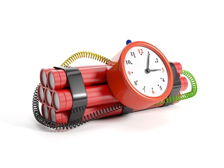 3d illustration  Alarm clock and dynamite Stock Illustration - 14728142
