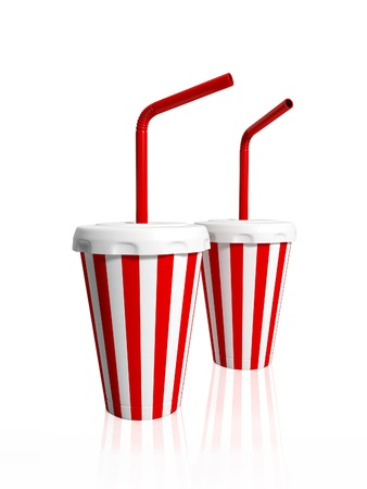 tubules: 3d illustration  Two paper striped glasses with tubules for drink