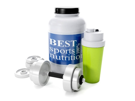 nutritional: 3d illustration: Dumbbells, shaker, sports nutrition, on a white background