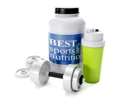3d ilustración: Pesas, coctelera, nutrición deportiva, sobre un fondo blanco
