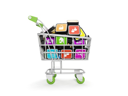 3d illustration: Computer icons are in the shopping carts illustration