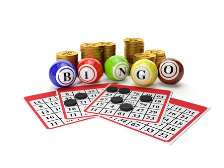 bingo: 3d illustration: Lottery Bingo and a group of gold coins. Gamble