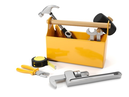 3d illustration: repair services. Tool box on a white background Banque d'images