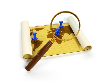 tool transparent white world: 3d illustration: map for travel and a magnifying glass. Isolated image