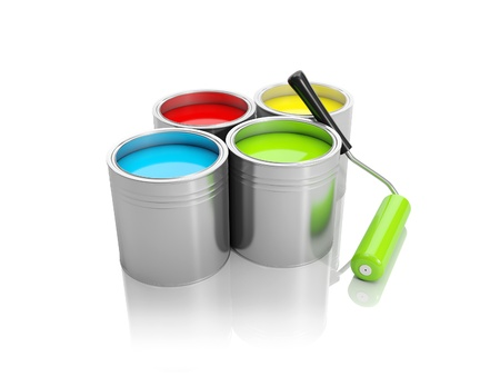 3d illustration: A group of cans of paint and roller Imagens