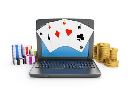 3d illustration: Gambling on the Internet, play online. Laptop casino chips and cards